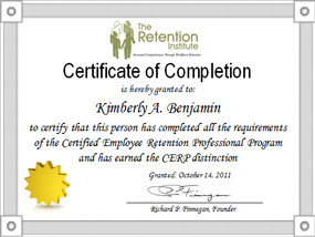 certificate of completion CERP